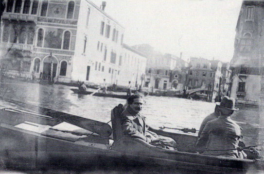 1932 Venice : Meher Baba seen with some of his men in a gondola.