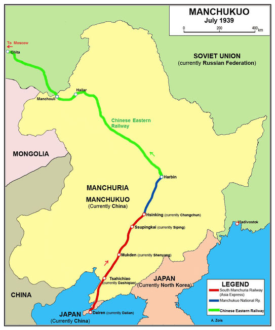 Period map of the 1930s - Northern China region - Manchuria