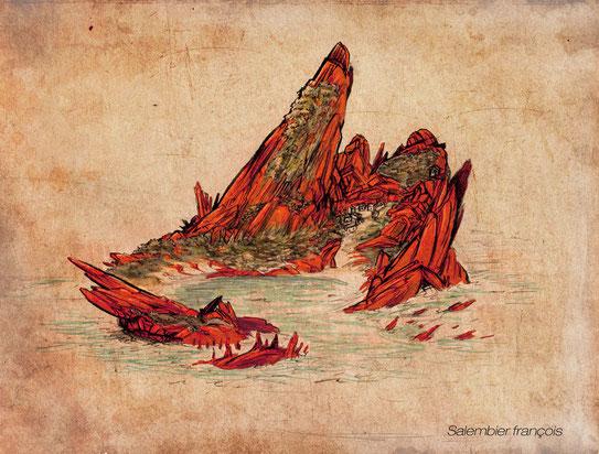 """Un projet d'illustration du livre """"naufrage à vanikoro"""". Voici l'ile sur laquelle l'histoire se passait."""