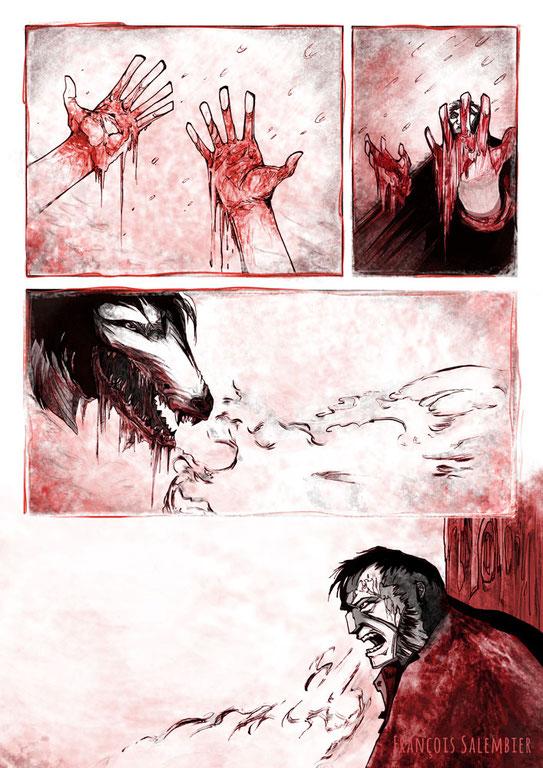salembier-francois-projet-blackwood-couverture-illustrateur-auteur-de-bd-scénariste-freelance-projet-bd-western-black-wood-francois-salembier-couverture-neige-loup-wolf-sapin-yeux-winter-souffle-main-hands-blood-sang-brume