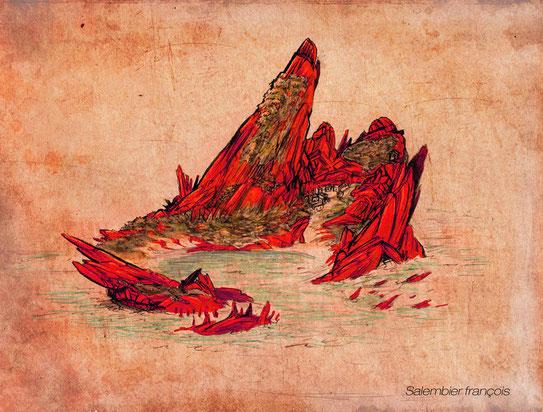 salembier-francois-françois-illustrateur-projet-d-illustration-du-livre-naufrage-à-vanikoro-voici-l-ile-sur-laquelle-l-histoire-se-passait