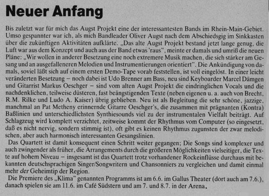 W. Krampf im Livemagazin Frankfurt, Juni 1989