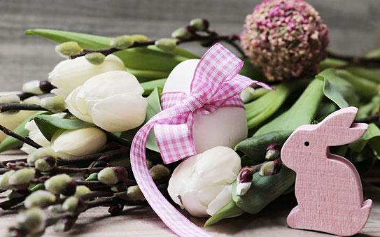 simboli pasquali fiori uova coniglio