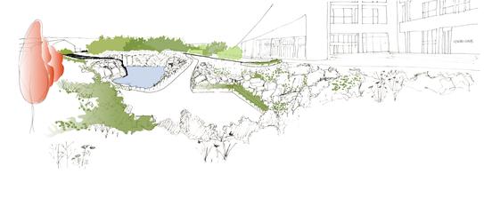 Espacio verde que restaura un espacio degradado en el corazón de A Cidade da Cultura