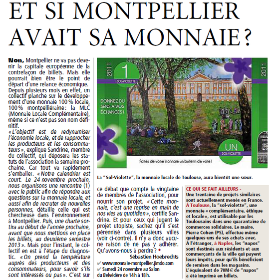 Article de Direct Montpellier Plus du 9 novembre 2012