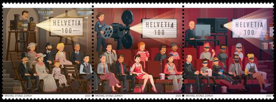 Briefmarken 125 Jahre Kino © Die Post