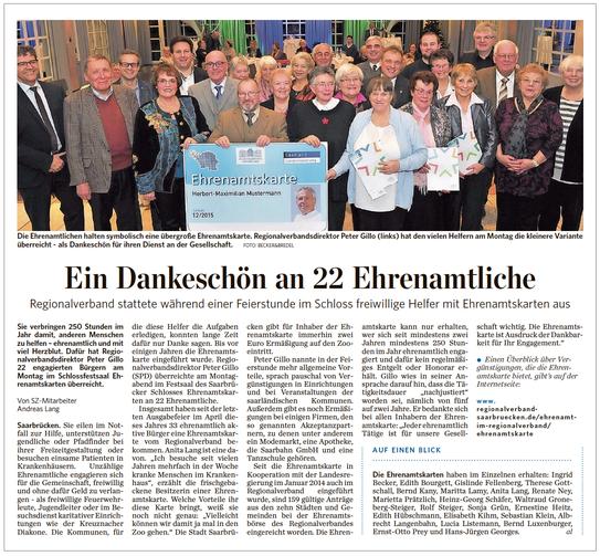 Blog. Ehrenamtskarte Schloss, Pressebericht Saarbrücker Zeitung