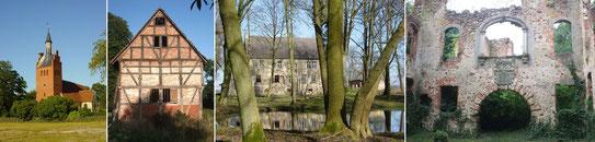Kirche im Ortskern - alter Kornspeicher - das alte Schloss des Adelssitzes - Ruine des neuen Schlosses