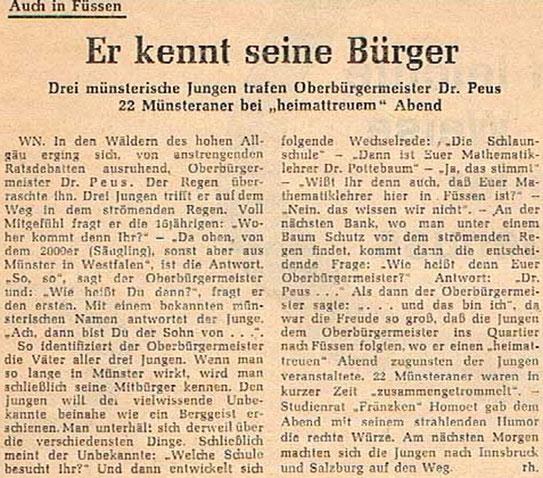 Wie es war... - Eine Zeitungsnotiz aus den 50er Jahren