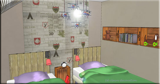 zoom aménagement de la chambre d'enfants