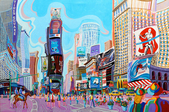 TIMES SQUARE (NUEVA YORK).Oleo sobre lienzo. 97 x146 x 3,5 cm.