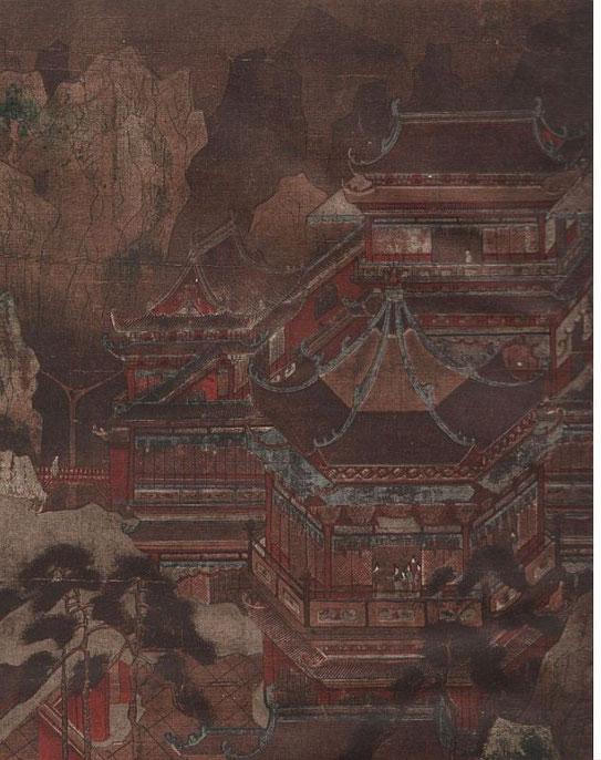 Le palais Kieou-tcheng par Li Tchao-tao. (VIIIe s.). Détail. Édouard Chavannes et Raphaël Petrucci : La peinture chinoise au musée Cernuschi en 1912. Ars Asiatica I, Van Oest, Bruxelles et Paris.