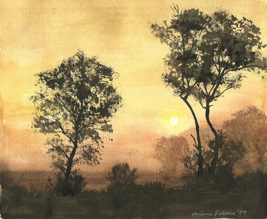 Bäume vor Sonnenuntergang, Aquarell von 1989