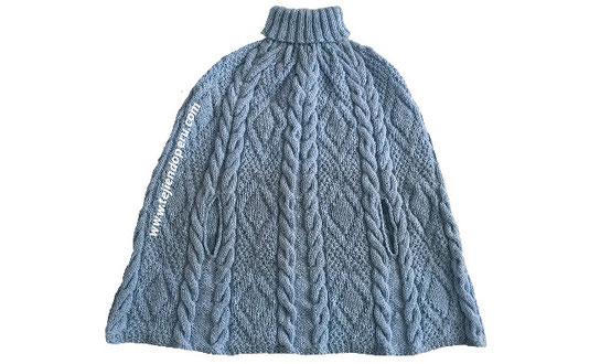 Tutorial: capa con cuello doblado tejida en dos agujas o palitos