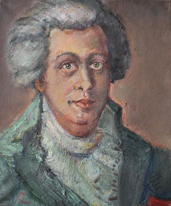 Mozart I (nach Johann Georg Edlinger), 50cm x 60cm, Öl auf Leinwand, 2010