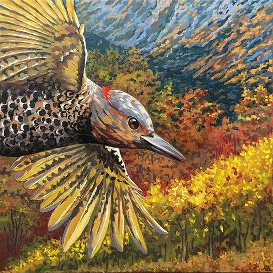 """Wary Barn Owl - acrylic on canvas - 24""""w x 30"""" h x 1.5"""" d"""