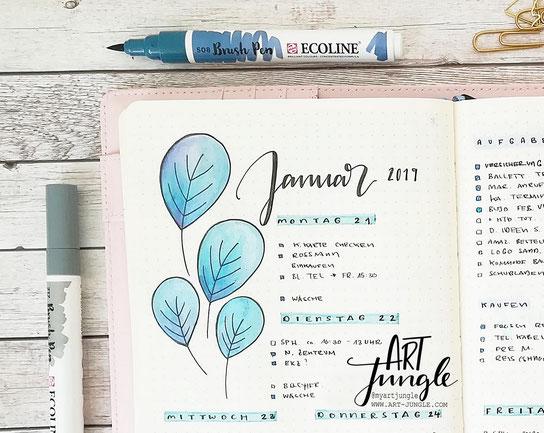 Januar Bullet Journal Weekly - Wochenübersicht - Weeklyspread - Doodle Ideas