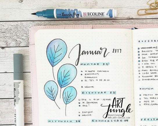 Januar Bullet Journal Weekly - Wochenübersicht - Weeklyspread - Doodle Ideas