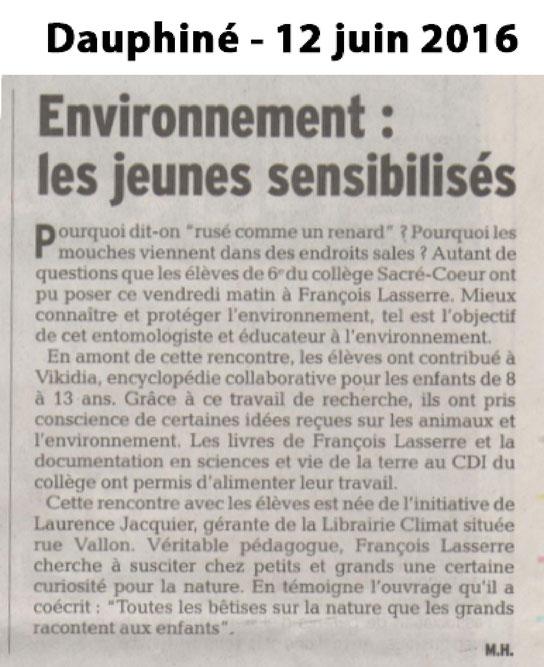 Article Dauphiné Libéré (12 juin 2016)