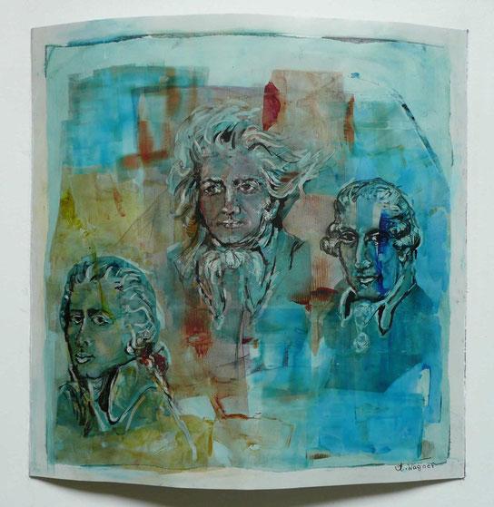 "Annelies Wagner, ""Lebensspuren"", Tintografik auf ALU, 60 x 60 cm"
