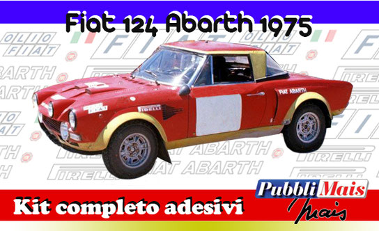 price fiat 124 abarth rally 1800 red yellow green livery full kit sticker decal 1975 pirelli macaluso pubblimais cost price castrozza