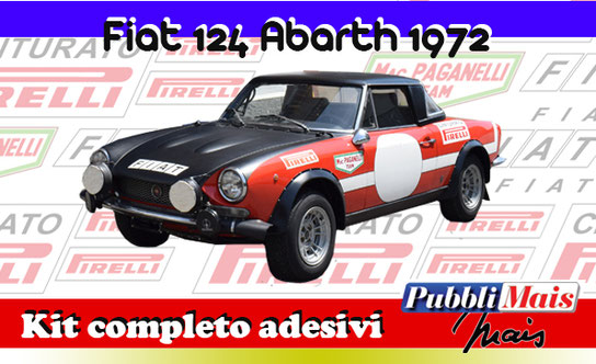 price fiat 124 abarth rally spider black bonnet livery full kit sticker decal 1972 1973 paganelli pirelli macaluso pubblimais cost
