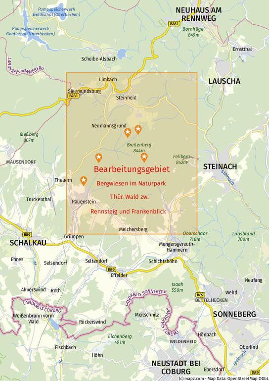 Kartenausschnitt des Bearbeitungsgebietes