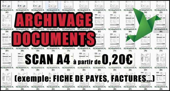 Scan A4 numérisation fiches de paye