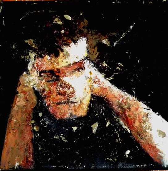 Portrait, techniques mixtes, peinture, romain chauvet