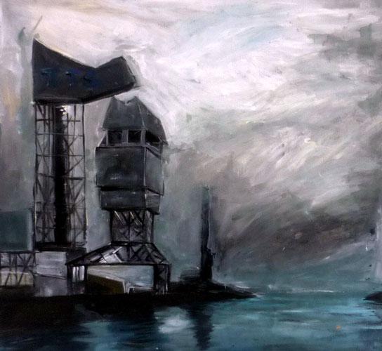 Dunkerque, acrylique sur toile, canvas, painting, romain chauvet
