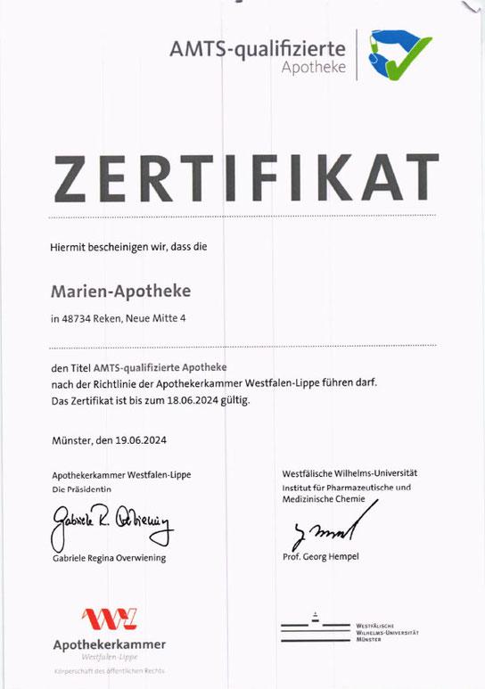 Marien-Apotheke Reken – Zertifizierung als AMTS-qualifizierte Apotheke 2021