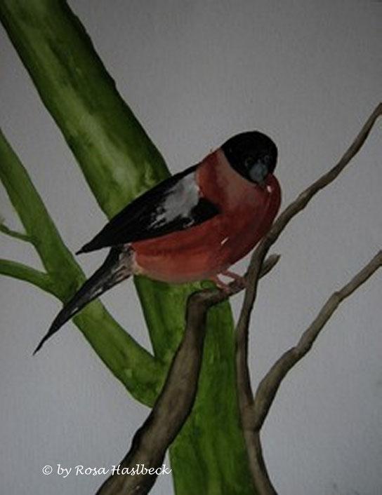 aquarell, aquarelle, tiere, tieraquarell, vogel, vögel, tieraquarell, dompfaff, grün, braun, rot, schwarz,, grau, malen, malerei, kunst, bilder, dekoration