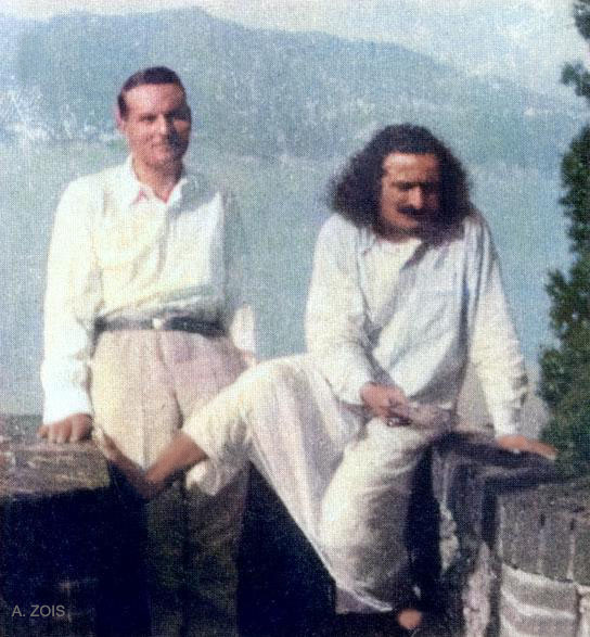 June-July 1933 - Portofino, Italy : Meher Baba & Herbert Davy. ( cropped image by A. Zois )