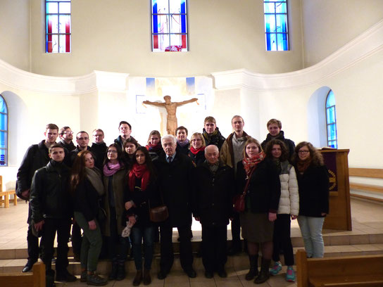 our group in the church of St Katherina after our conversation with contemporary witnesses