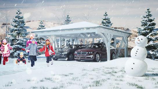 Schneelast: Carport mit Walmdach Solarterrassen & Carportwerk GmbH