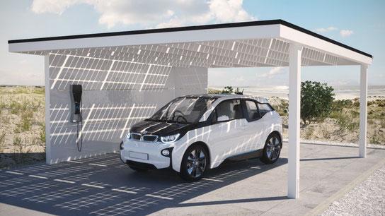 Strom zuhause tanken unter einem Solarcarport