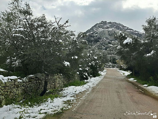 Neve nelle campagne di Putzolu, Olbia ( Ot), 28 febbraio 2018, Sardegna, Sardinia, Italy
