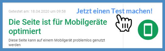 """Bild: Testergebnis """"Die Seite ist für Mobilgeräte optimiert."""