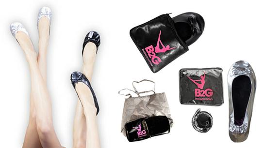 Faltbare Ballerinas Schuhe für unterwegs, rollbar