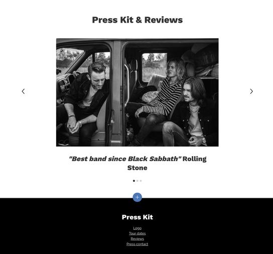 Page dossier de presse sur le site d'un groupe de musique