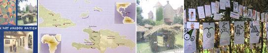 Affiche    Carte des lieux où le vaudou est florissant cabanes vaudoues Exemples de voeux déposés
