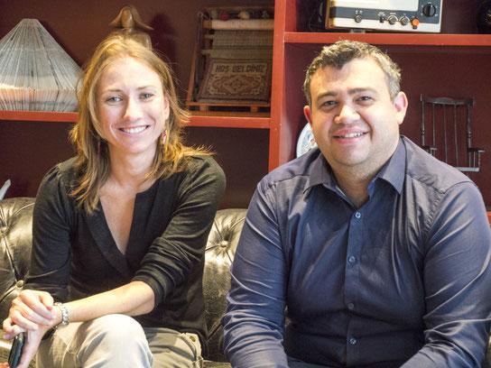 Experten in Sachen Data Analytics: Marketing Director Czesia Glik und Intezer-CEO Itai Tevet im Mindspace-Foyer