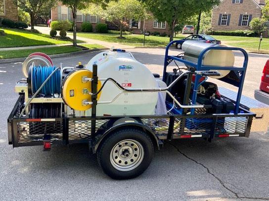 Pressure washing trailer in Lexington, Kentucky.