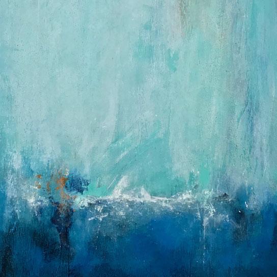 Ein blau türkises Kunstwerk schaffen, mit selbst angemischter Strukturpaste.