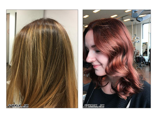Rot Kupfer Haarfarbe Coloration vorher nachher