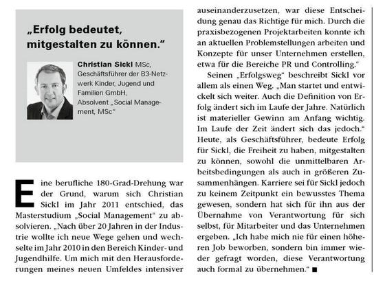 Interview Christian Sickl MSc anlässlich der 20-Jahr-Jubiläumsausgabe des Donau-Uni-Krems Magazins