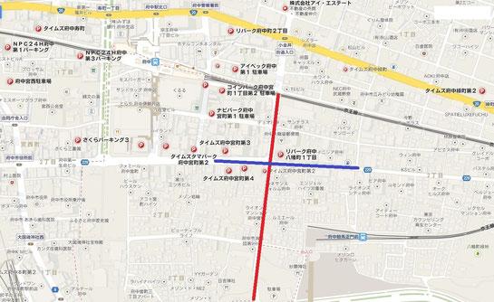 東京競馬場,周辺駐車場,地図