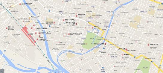 盛岡市街地図、ホテル、旅館