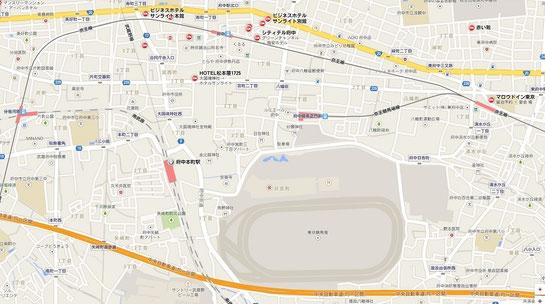 東京競馬場,周辺ホテル