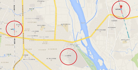 水沢駅と水沢江刺駅の位置関係